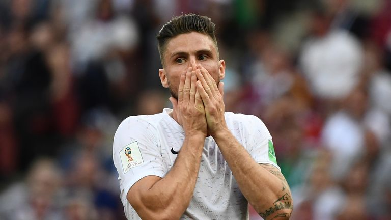 Olivier Giroud and France struggled to create chances against Denmark