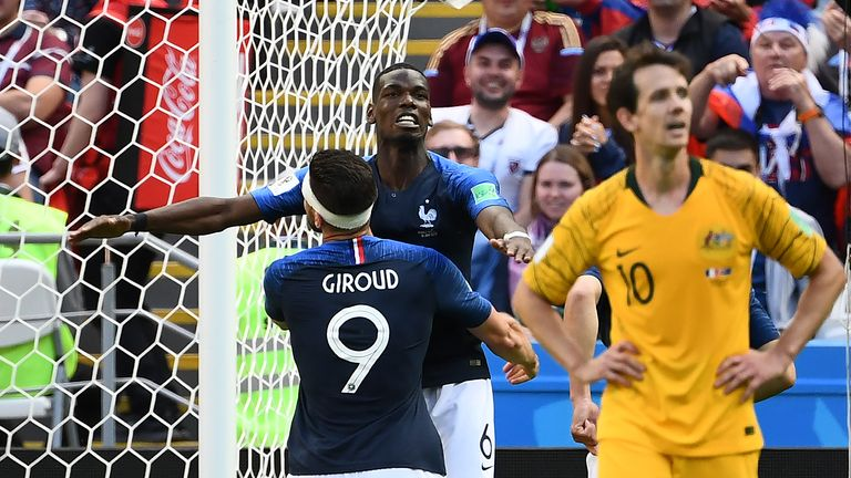 Paul Pogba combined well with substitute Olivier Giroud for the winner