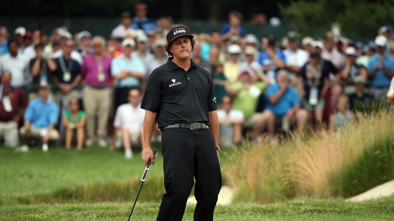 Mickelson was denied by Justin Rose at Merion Golf Club in 2013