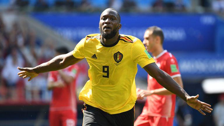 Romelu Lukaku wheels away from goal after doubling Belgium's lead