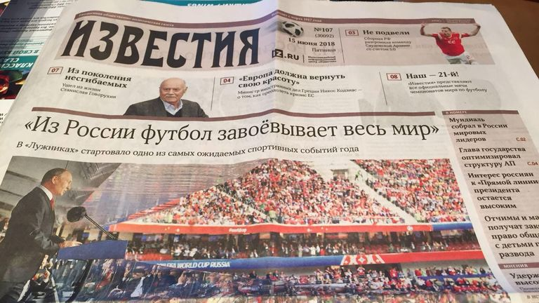 Here is the front page of Izvestiya, with the headline taken from President Vladimir Putin's speech - 'From Russia, football can conquer the whole world'.