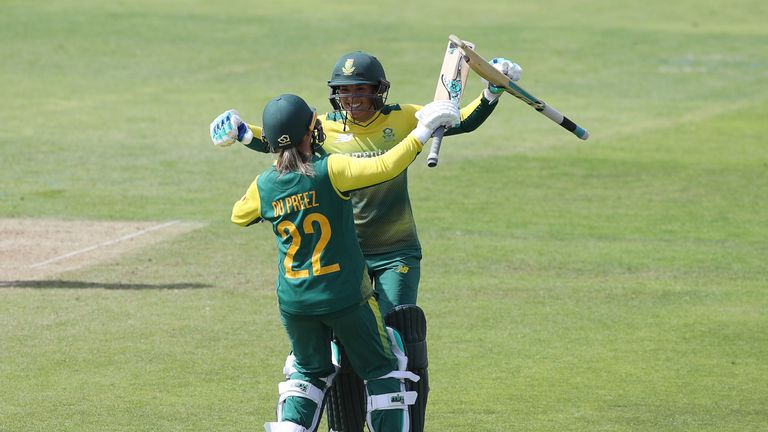 South Africa's Sune Luus and Mignon du Preez celebrate their victory