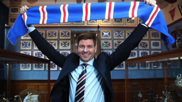 Steven Gerrard was unveiled as the new manager of Rangers in May 2018