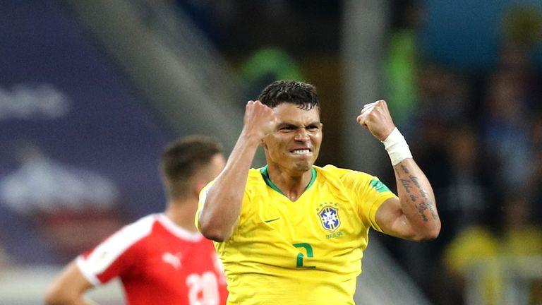 Thiago Silva celebrates Brazil's second goal of the night