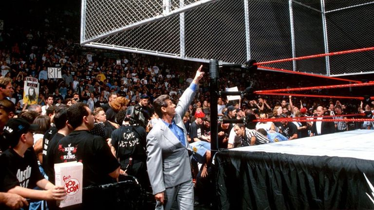 Vince McMahon ordered the cell to be raised - but the match continued