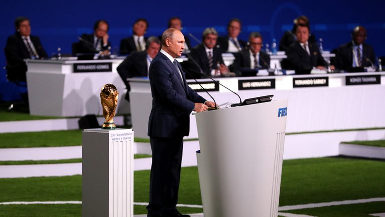 Russian president Vladimir Putin addressed the 68th FIFA Congress in Moscow on Wednesday