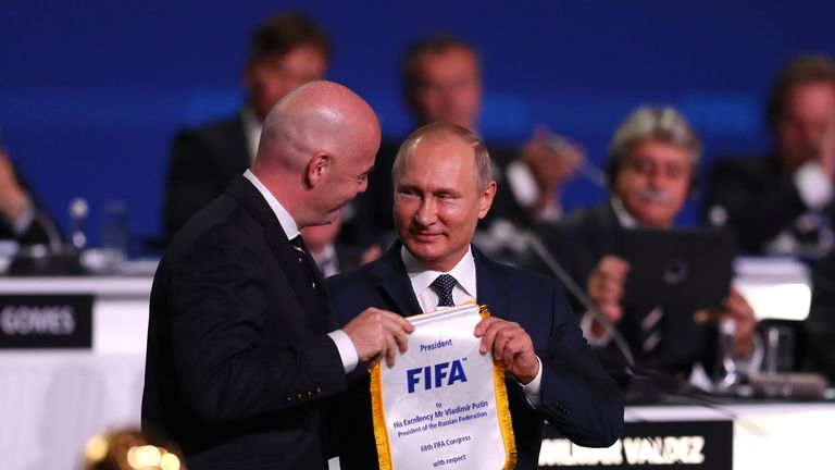"Vladimir Putin thanked FIFA for being ""one big team"" ahead of the World Cup"