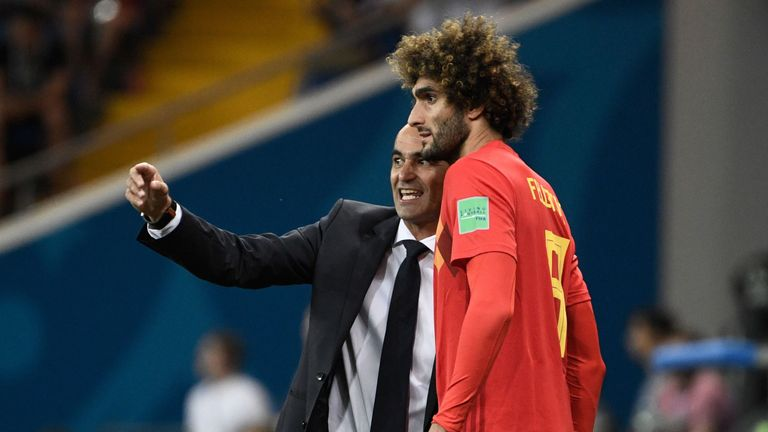 Roberto Martinez issues instructions to sub Marouane Fellaini