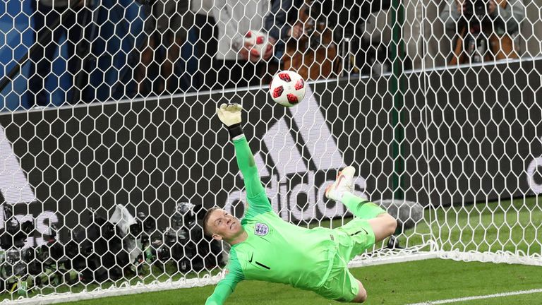 Jordan Pickford saves Colombia's fifth penalty from Carlos Bacca
