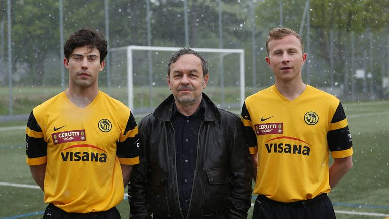 Aaron Altaras (Leon), director Marcel Gisler, and Max Hubacher (Mario) on set of the new movie 'Mario', about two footballers keeping a secret from their team-mates
