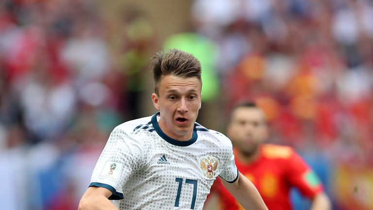 Aleksandr Golovin has completed the fourth-highest number of sprints at the tournament with 191 - despite only playing three games.