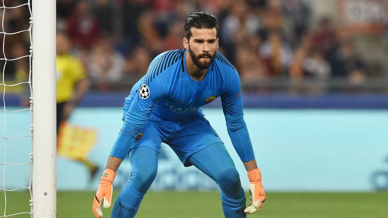 Roma goalkeeper Alisson Becker in action during the UEFA Champions League Semi-Final, Second Leg against Liverpool at Stadio Olimpico on May 2, 2018