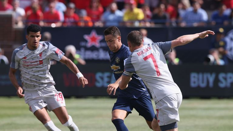 Ander Herrera and James Milner battle for possession