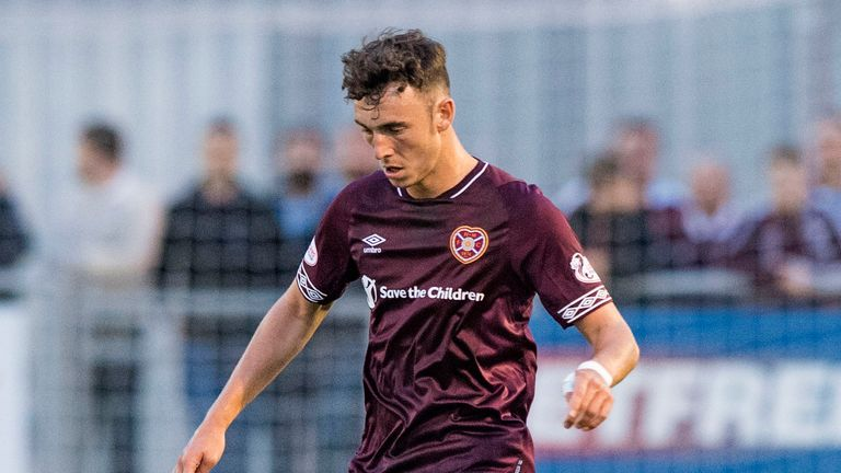 Andrew Irving in action for Hearts against Cove Rangers