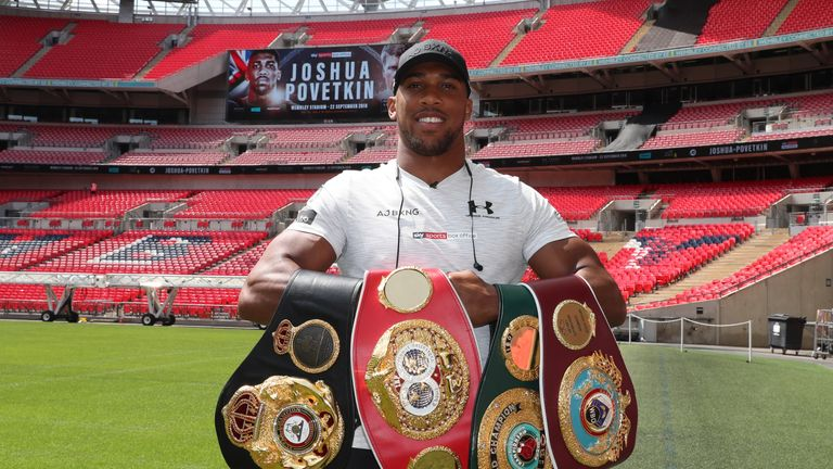 JOSHUA-POVETKIN PRESS CONFERENCE.WEMBLEY STADIUM,.WEMBLEY,.MIDDLESEX.PIC;LAWRENCE LUSTIG.WORLD HEAVYWEIGHT CHAMPION ANTHONY JOSHUA GETS USED TO HIS NEW HOME AS HE PREPARES FOR HIS NEXT TWO FIGHTS AT WEMBLEY STADIUM ON SATURDAY 22ND SEPTEMBER AND SATURDAY APRIL 13TH 2019