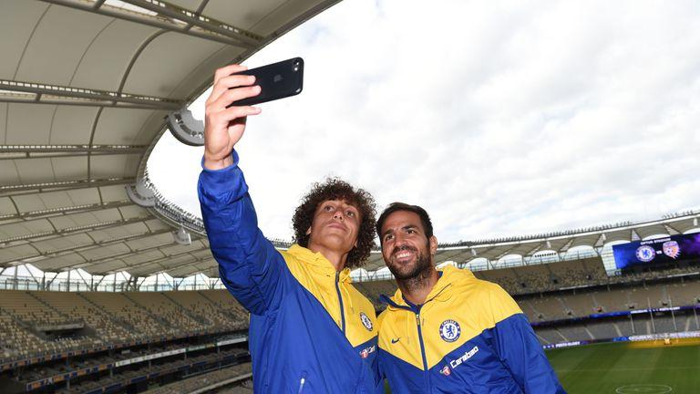 Chelsea players Cesc Fabregas and David Luiz visit Optus Stadium in Perth