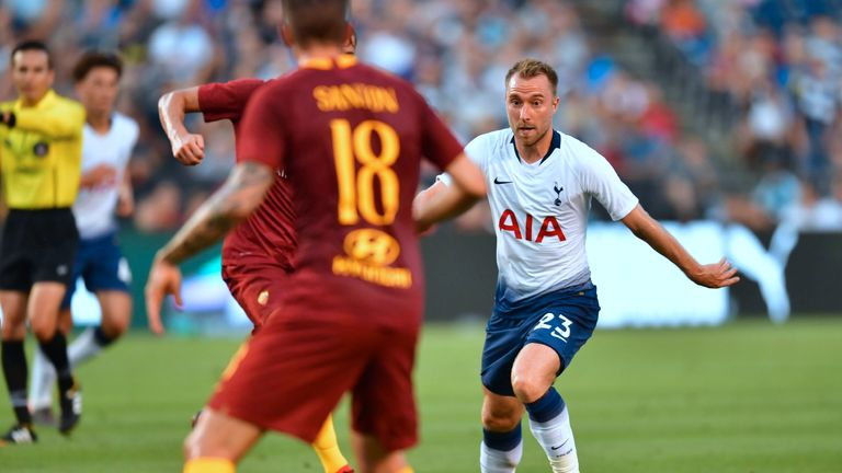 Christian Eriksen was at the heart of much of Tottenham's good play in their win over Roma