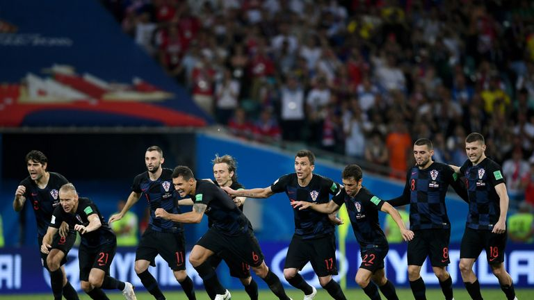 Croatia celebrate beating Russia on penalties in World Cup quarter-final