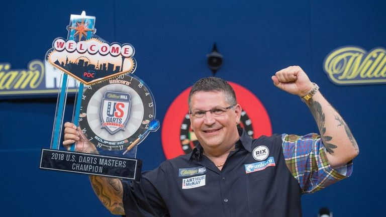 Gary Andrson celebrates his US Darts Masters title in Las Vegas