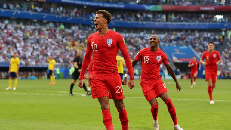 Dele Alli grabbed England's second from Jesse Lingard's cross