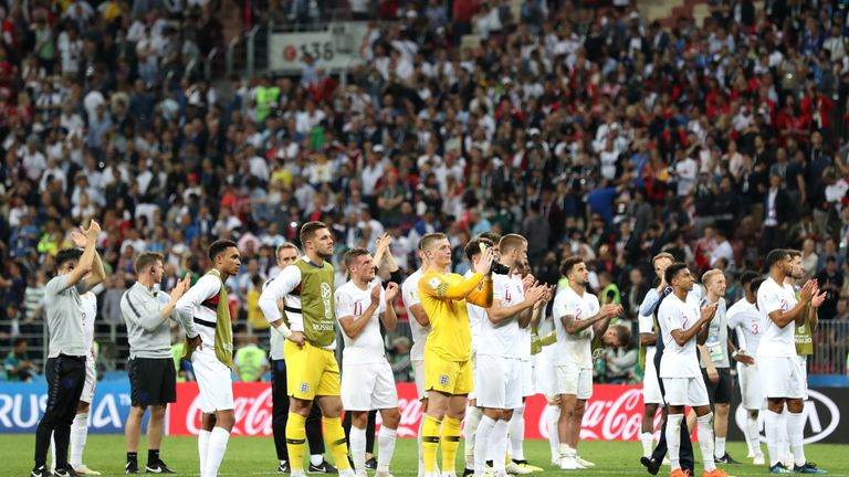 The England team applaud their fans after semi-final disappointment