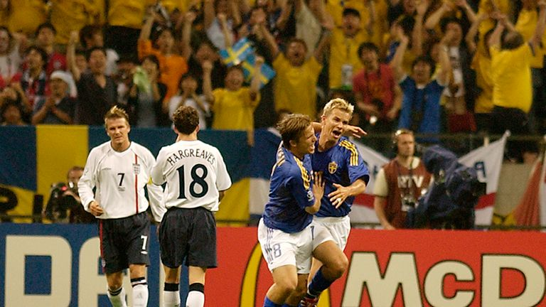 Niclas Alexandersson celebrates his equalising goal at the 2002 World Cup