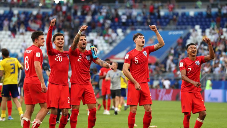 England players celebrate after the 2-0 win over Sweden