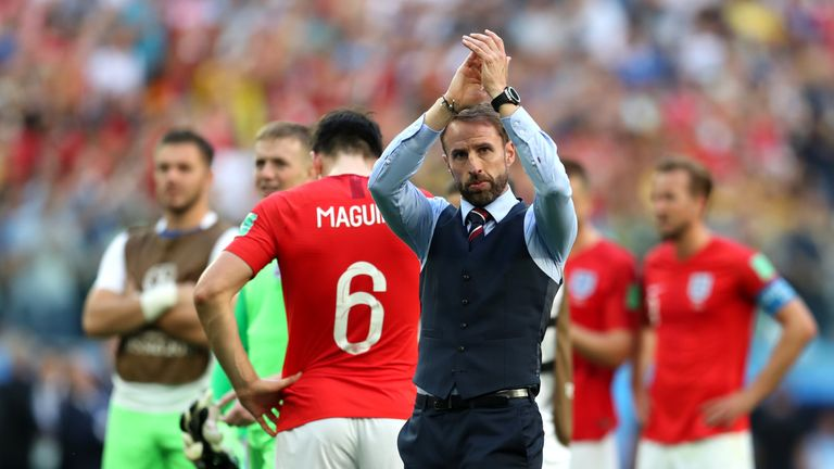 Gareth Southgate applauds England fans after World Cup third-place play-off against Belgium