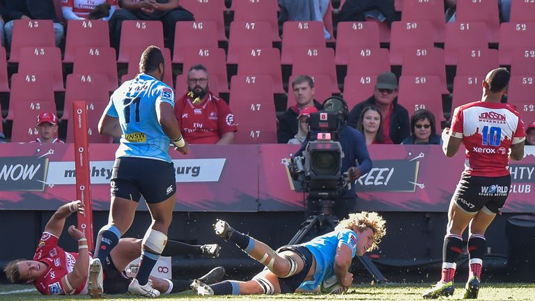 Waratahs flanker Ned Hanigan scored the first try of the day after a powerful run from Taqele Naiyaravoro