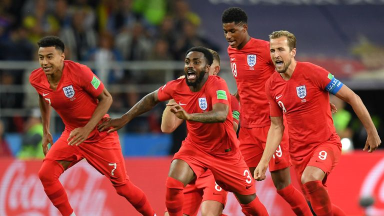 England players celebrate beating Colombia 4-3 on penalties in Moscow