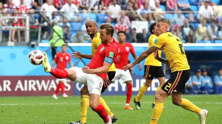 Kane stretches for an effort against Belgium