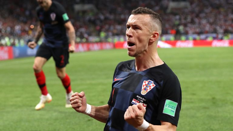 Perisic celebrates his goal for Croatia against England