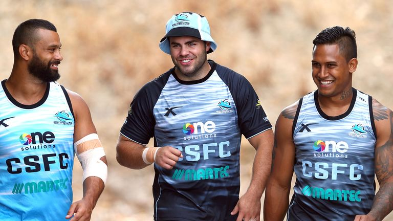 Wade Graham and Ben Barba during Sharks pre-season back in 2014
