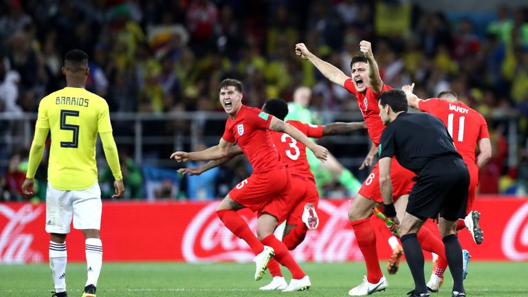 Eric Dier converts his penalty to send England into the World Cup quarter-finals