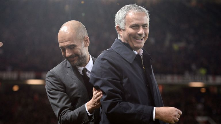 Mourinho and Pep Guardiola pictured together at Old Trafford