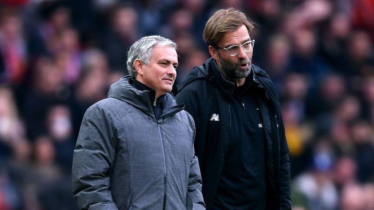 How have Jurgen Klopp and Jose Mourinho fared at Liverpool and Man Utd?