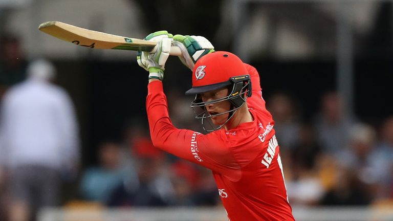 during the Vitality Blast match between Leicestershire Foxes and Lancashire Lightning at Grace Road on July 18, 2018 in Leicester, England.