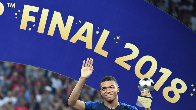 Kylian Mbappe was named Young Player of the 2018 World Cup in Russia