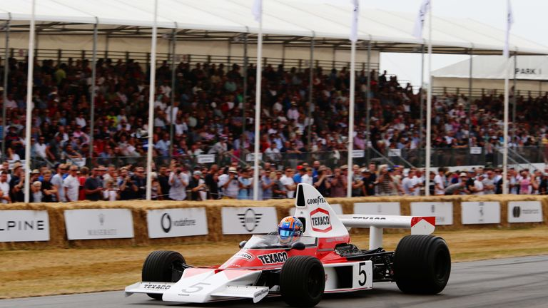 Lando Norris in the McLaren M23 at the Goodwood Festival of Speed