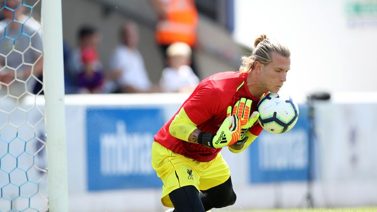 Karius spills a routine catch during the warm-up before friendly at Chester