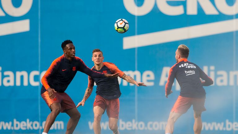 Barcelona defenders Yerry Mina and Lucas Digne are wanted by Everton