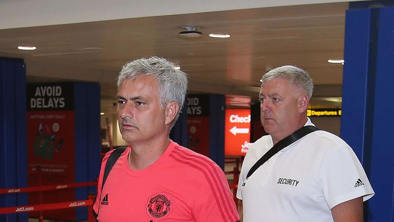 Jose Mourinho and the rest of the Manchester United squad flew out to America on Sunday
