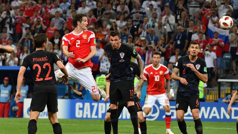 Mario Fernandes scores for Russia against Croatia in the World Cup quarter-final