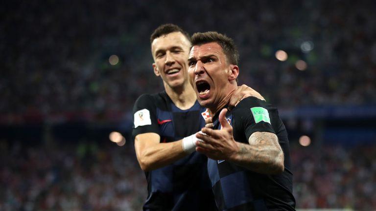 Mario Mandzukic celebrates with Ivan Perisic after Croatia equalise against Denmark