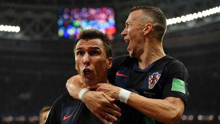 Mario Mandzukic celebrates his winner against England