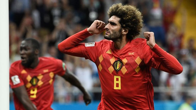 Fellaini celebrates after equalising for Belgium against Japan
