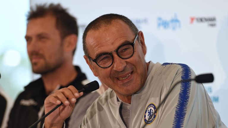 Maurizio Sarri faced the media after arriving in Perth