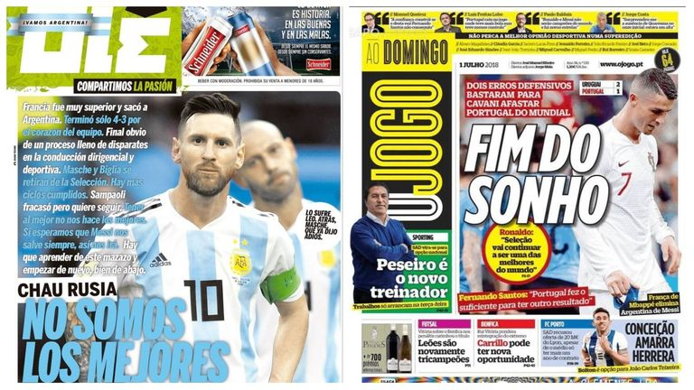 The Argentine and Portuguese press react to their World Cup exits