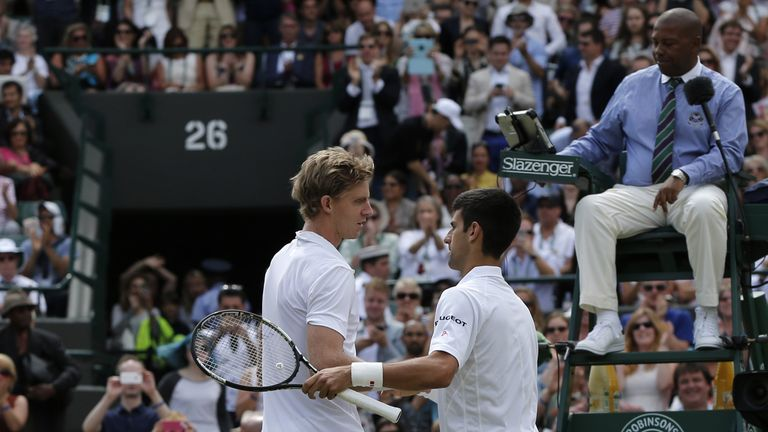 Novak Djokovic (R) and Kevin Anderson will meet in the second semi-final