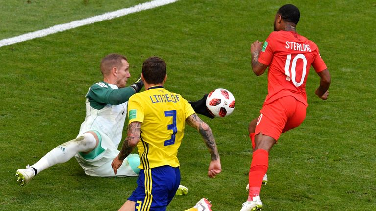 Sterling attempts to round the goalkeeper late on in the first half